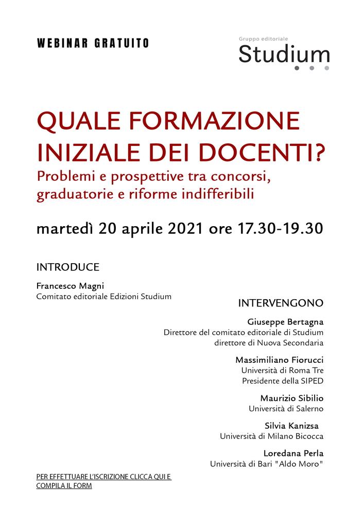 """Webinar """"Quale formazione iniziale dei docenti? Problemi e prospettive tra concorsi, graduatorie e riforme indifferibili"""" - 20 aprile - Locandina"""
