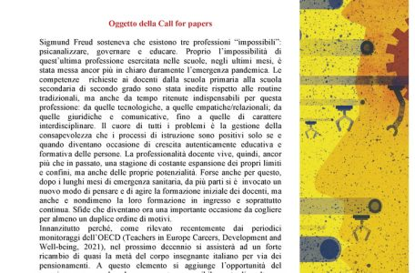"""Call for papers rivista """"Professionalità Studi"""" sul tema """"La professionalità docente tra nuovi paradigmi e funzioni"""" - Call"""