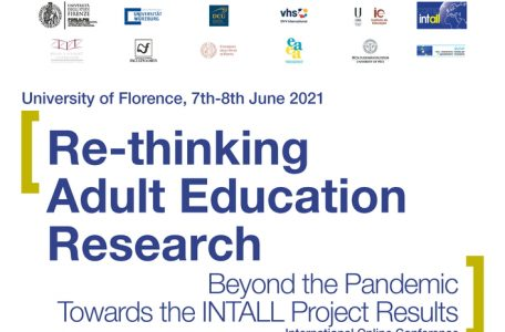 """Conferenza Internazionale """"Re-thinking adult education research beyond the pandemic. Towards the INTALL project results"""" - 7-8 giugno - Locandina"""