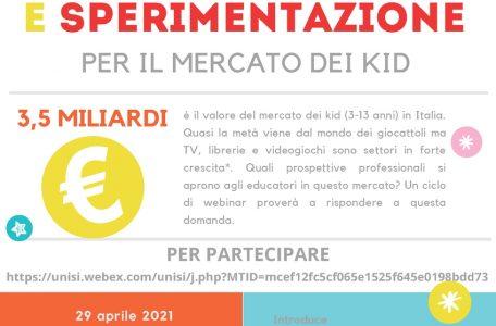 """Ciclo di webinar """"Apprendimento, creatività e sperimentazione per il mercato dei Kid"""" - 29 aprile - 15 e 27 maggio - Locandina"""