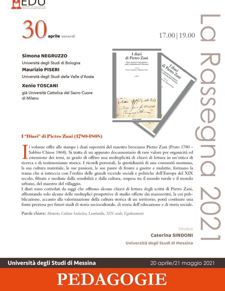 """Presentazione volume """"I """"Diari"""" di Pietro Zani (1780-1868)"""" - 30 aprile - Locandina"""
