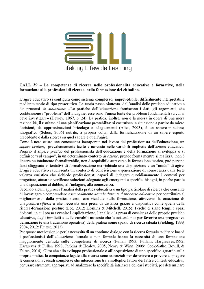 "Call for papers #38 e #39 rivista ""Lifelong Lifewide Learning"""