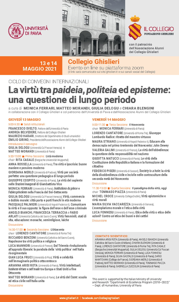 """Convegno internazionale """"La virtù tra paideia, politeia ed episteme: una questione di lungo periodo"""" - 13-14 maggio - Locandina"""