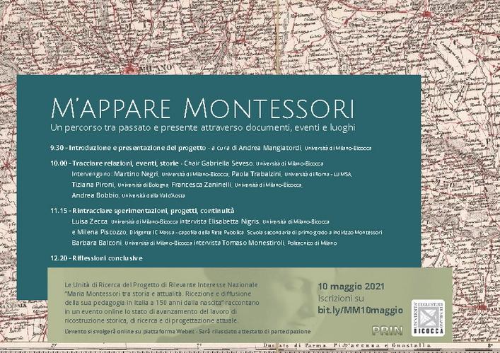 """Webinar """"M'appare Montessori. Un percorso tra passato e presente attraverso documenti, eventi e luoghi"""" – 10 maggio"""