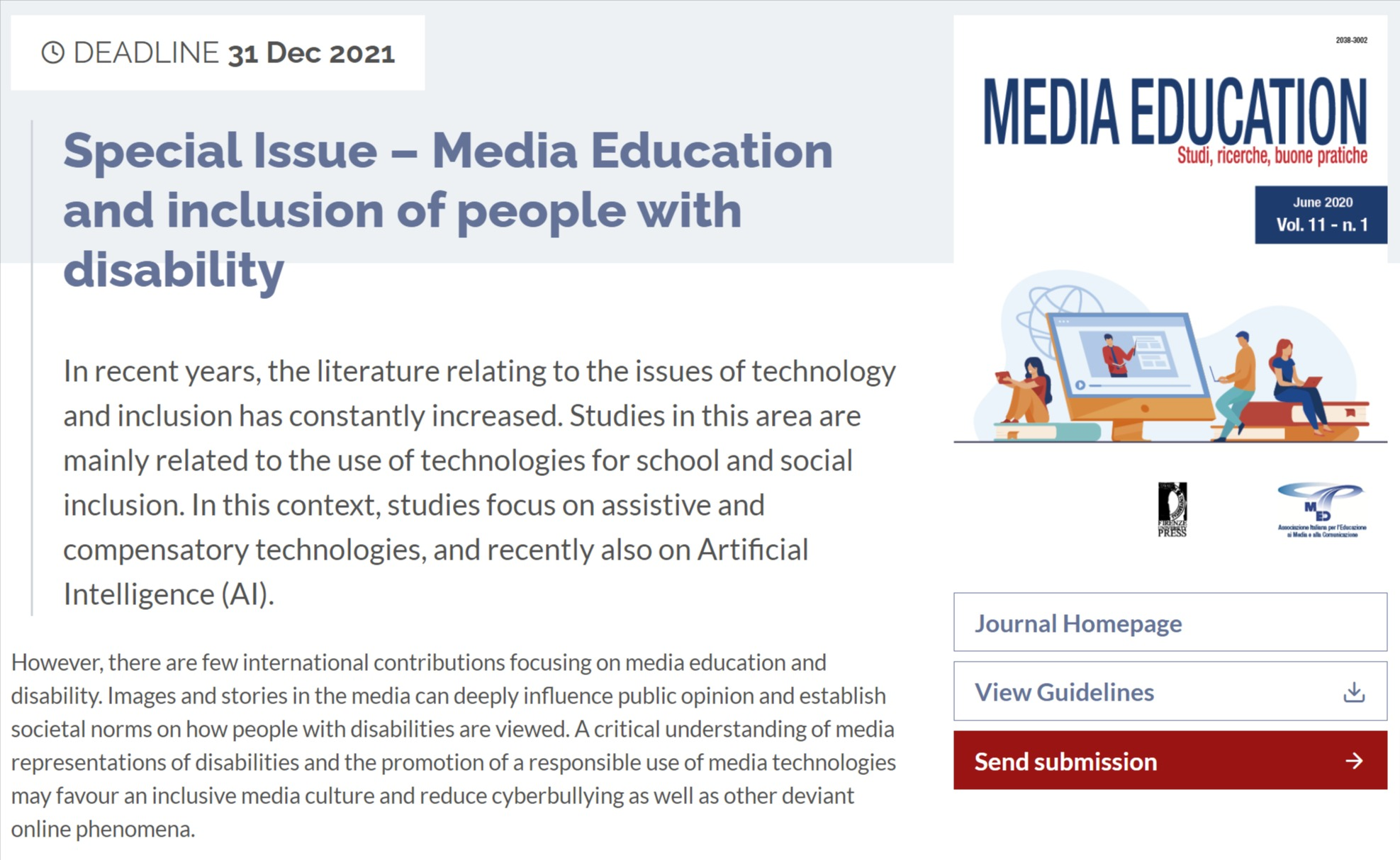 "Call for abstract rivista ""Media Education. Studi, ricerche, buone pratiche"" sul tema ""Media Education and inclusion of people with disability"""