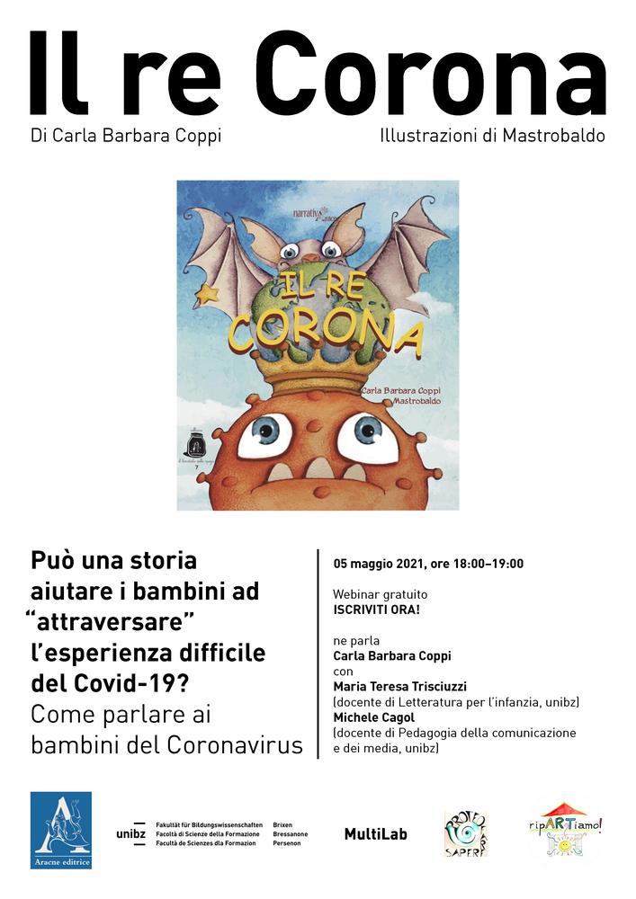 """Webinar """"'Il re Corona'. Come parlare ai bambini del Coronavirus"""" - 5 maggio"""