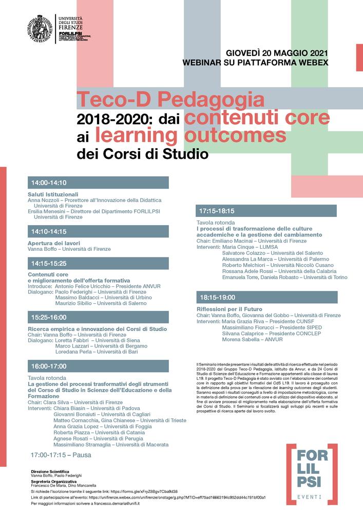 """Webinar """"Teco-D Pedagogia 2018-2020. Dai contenuti core ai learning outcomes dei Corsi di Studio"""" - 20 maggio"""