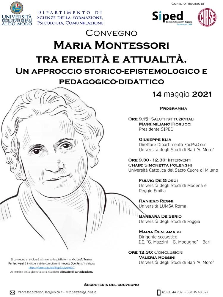 """Convegno """"Maria Montessori tra eredità e attualità. Un approccio storico-epistemologico e pedagogico-didattico"""" – 14 maggio"""
