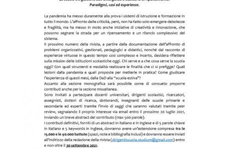 """Call for papers rivista """"Dirigenti Scuola"""" sul tema """"Le scuole tra gestione dell'emergenza e desiderio di ripensamento. Paradigmi, casi ed esperienze"""""""