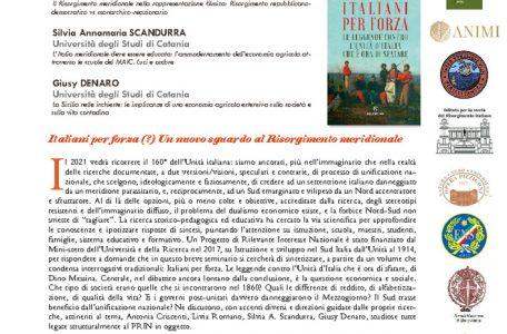 """Webinar """"Italiani per forza (?) Un nuovo sguardo al Risorgimento meridionale"""" - 11 maggio - Locandina"""