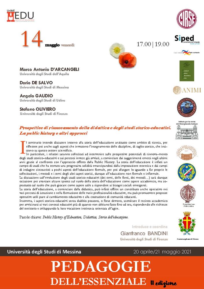 """Webinar """"Prospettive di rinnovamento della didattica e degli studi storico-educativi. La public history e altri approcci"""" - 14 maggio - Locandina"""