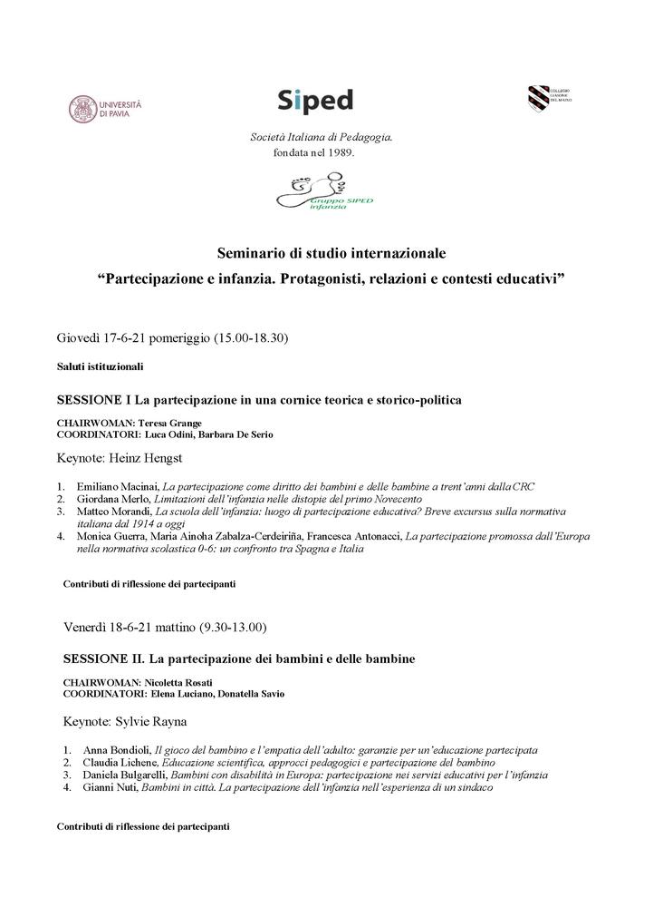 """Webinar internazionale """"Partecipazione e infanzia. Protagonisti, relazioni e contesti educativi"""" - 17-19 giugno - Locandina"""