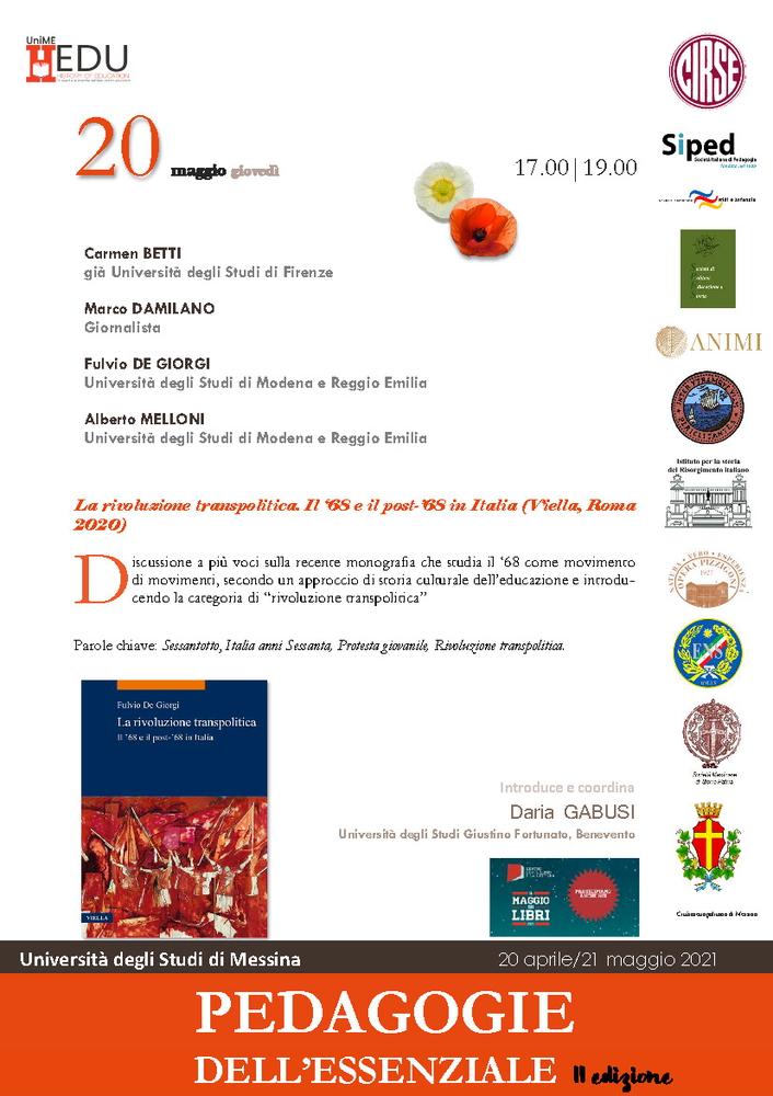 """Presentazione volume """"La rivoluzione transpolitica. Il '68 e il post-'68 in Italia"""" - 20 maggio - Locandina"""