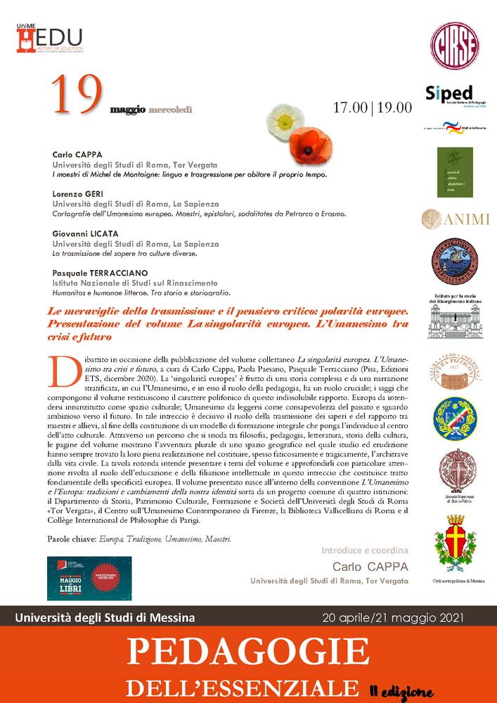 """Presentazione volume """"La singolarità europea. L'Umanesimo tra crisi e futuro"""" - 19 maggio"""