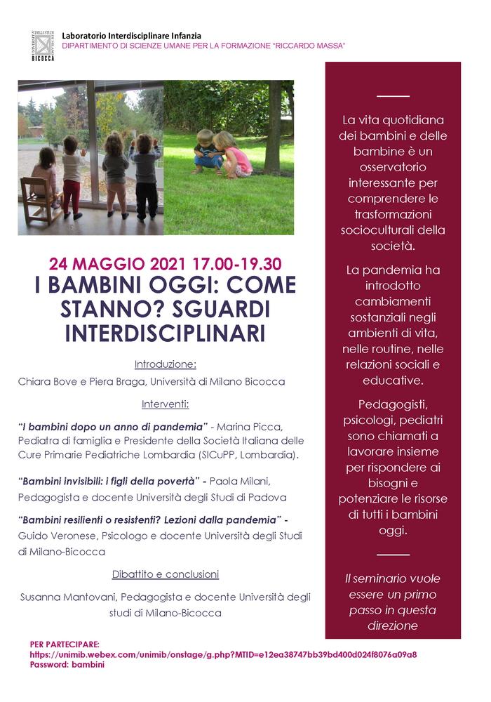 """Webinar """"I bambini oggi: come stanno? Sguardi interdisciplinari"""" - 24 maggio"""