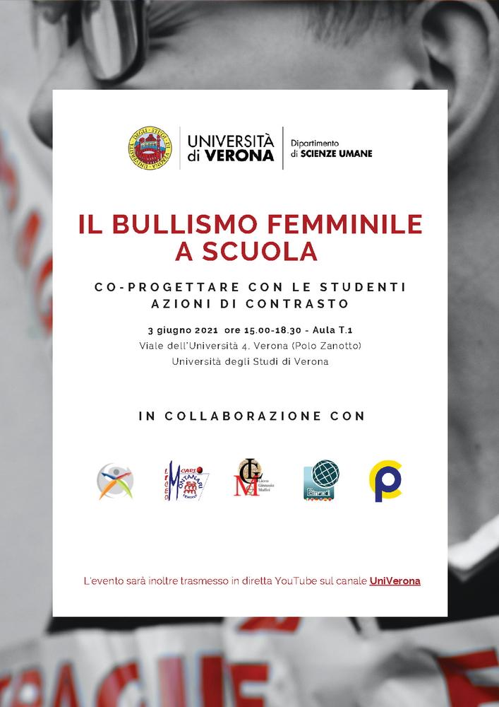 """Seminario """"Il bullismo femminile a scuola. Co-progettare con le studenti azioni di contrasto"""" - 3 giugno, Verona - Locandina"""