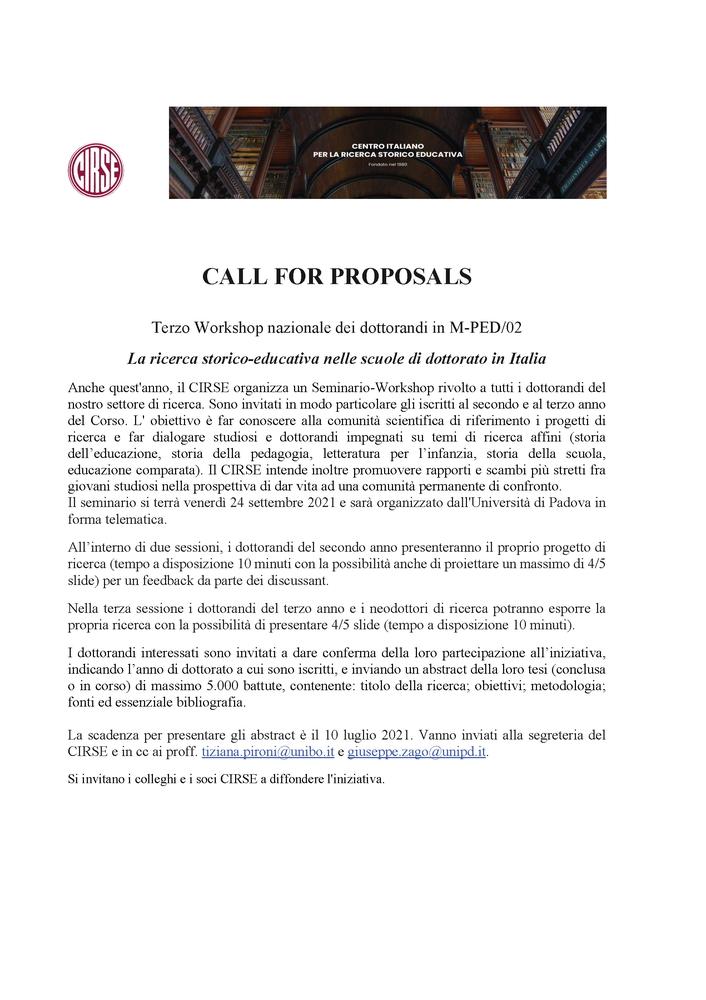 """Call for proposals """"Terzo Workshop nazionale dei dottorandi in M-PED/02"""" sul tema """"La ricerca storico-educativa nelle scuole di dottorato in Italia"""" - 24 settembre - Call"""