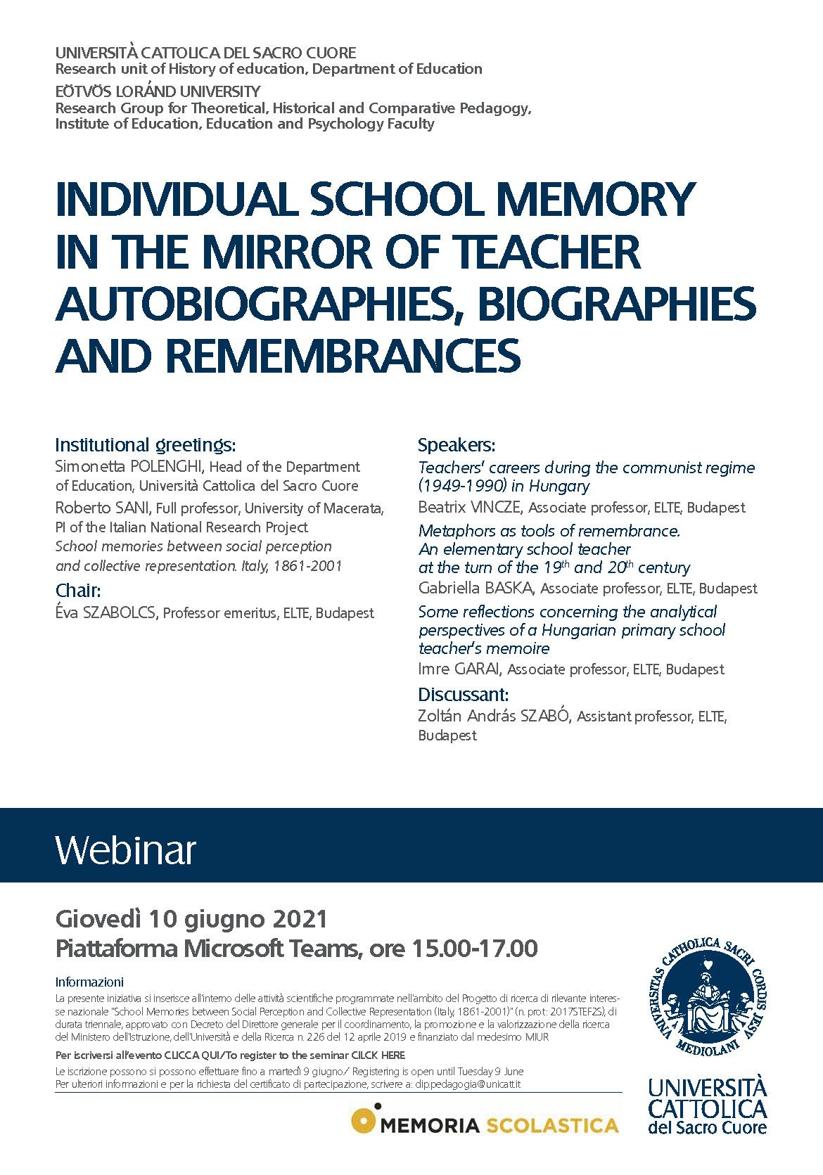 "Webinar ""Individual school memory in the mirror of teacher autobiographies, biographies and remembrances"" - 10 giugno - Locandina"