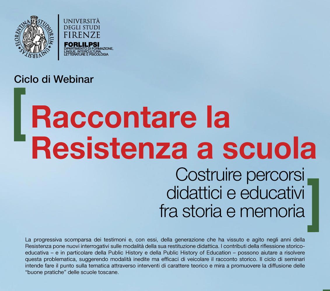 """Webinar """"Raccontare la Resistenza a scuola. Costruire percorsi didattici e educativi fra storia e memoria"""" - 31 maggio"""