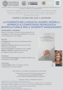 """Webinar """"La diversità nei luoghi di lavoro. Modelli, approcci e competenza pedagogica interculturale per il diversity management"""" - 4 giugno - Locandina"""