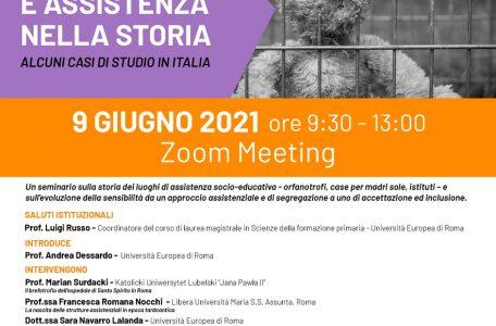 """Webinar """"Educazione e assistenza nella storia. Alcuni casi di studio in Italia"""" - 9 giugno - Locandina"""