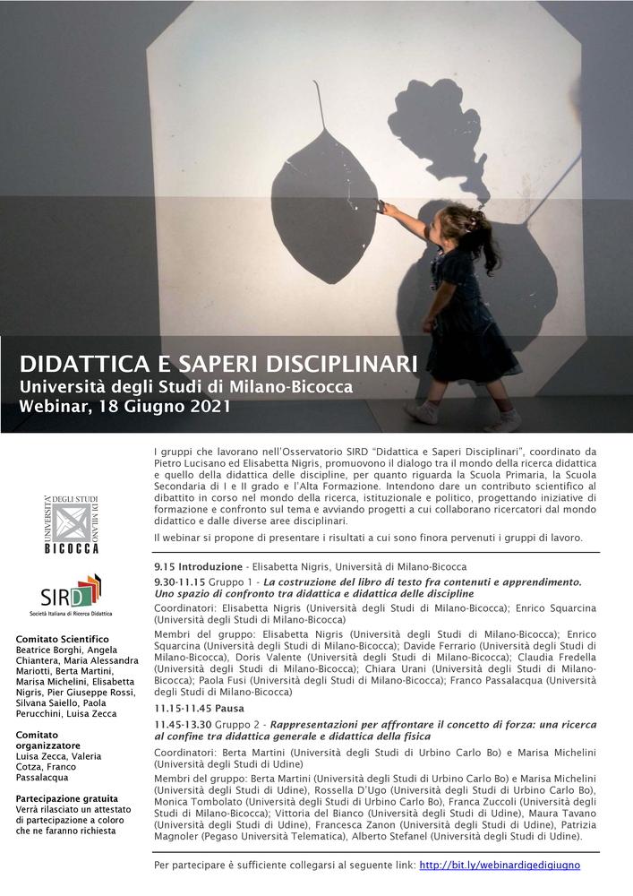 """Webinar """"Didattica e saperi disciplinari"""" - 18 giugno - Locandina"""