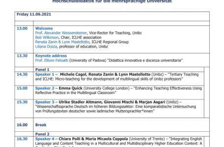 """Simposio """"Tertiary Teaching for the Multilingual University"""" - 11-12 giugno - Programma"""
