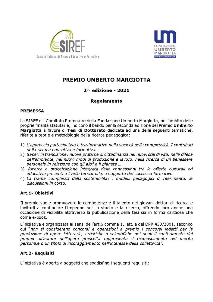 """II Edizione """"Premio Umberto Margiotta"""" dedicato a Tesi di Dottorato"""