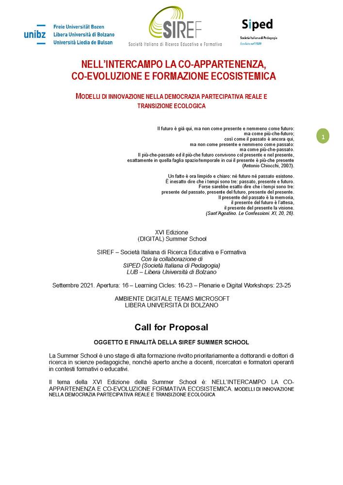 """Call for Proposal per la Summer School SIREF """"Nell'intercampo la co-appartenenza. Co-evoluzione e formazione ecosistemica"""""""