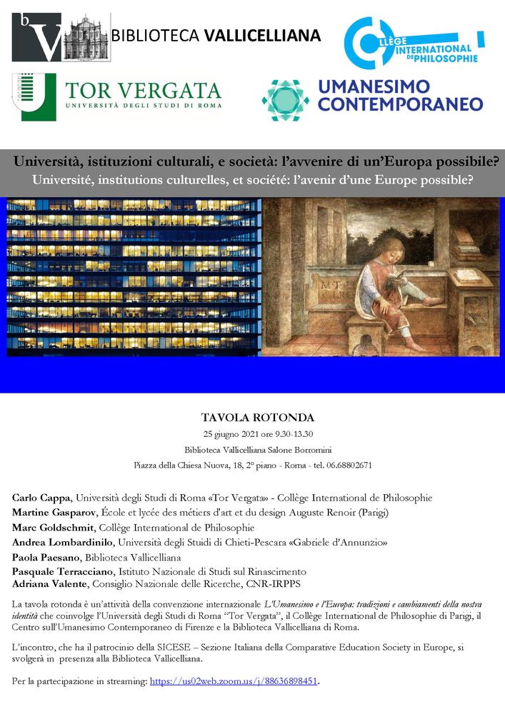 """Tavola rotonda """"Università, istituzioni culturali, e società. L'avvenire di un'Europa possibile?"""" - 25 giugno - Locandina"""