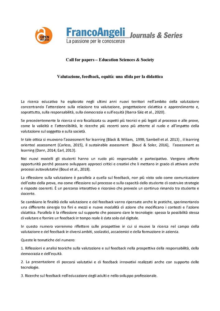 """Call for papers rivista """"Education Sciences & Society"""" dal titolo """"Valutazione, feedback, equità: una sfida per la didattica"""" - Call"""