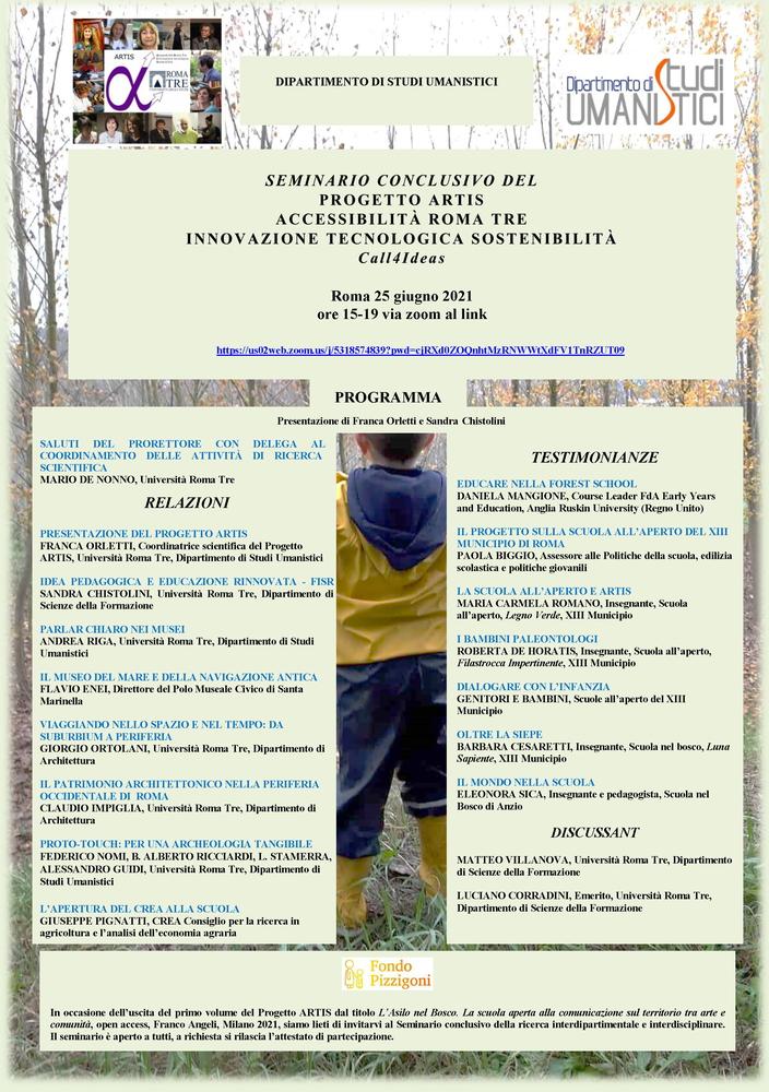 """Webinar """"Progetto Artis. Accessibilità Roma Tre. Innovazione Tecnologica Sostenibilità. Call4ideas"""" - 25 giugno - Locandina"""