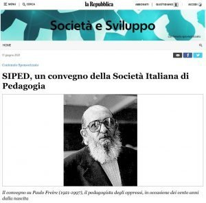 SIPED - Presidente - Repubblica Online - Convegno Freire