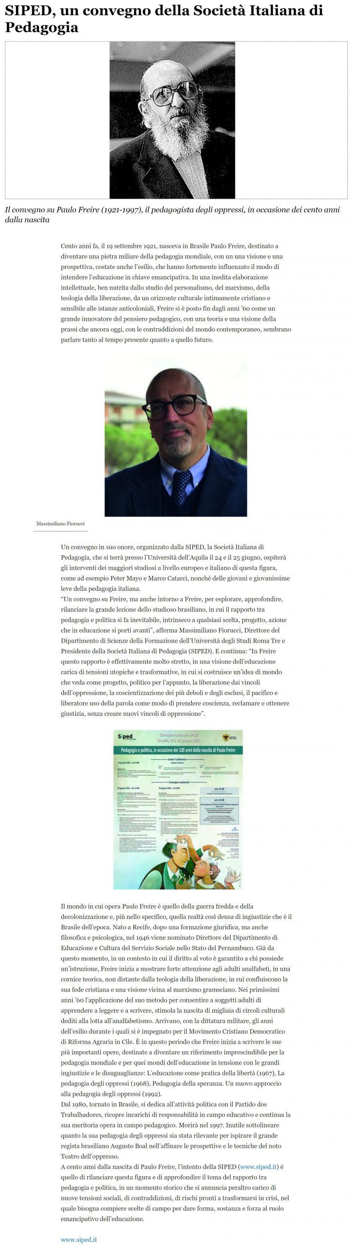 """2021-06-17 – La Repubblica – """"SIPED, un convegno della Società Italiana di Pedagogia"""""""