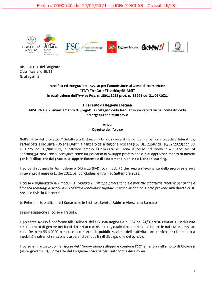 """Corso di formazione per docenti universitari """"The Art of Teaching@Unisi"""" - Locandina"""