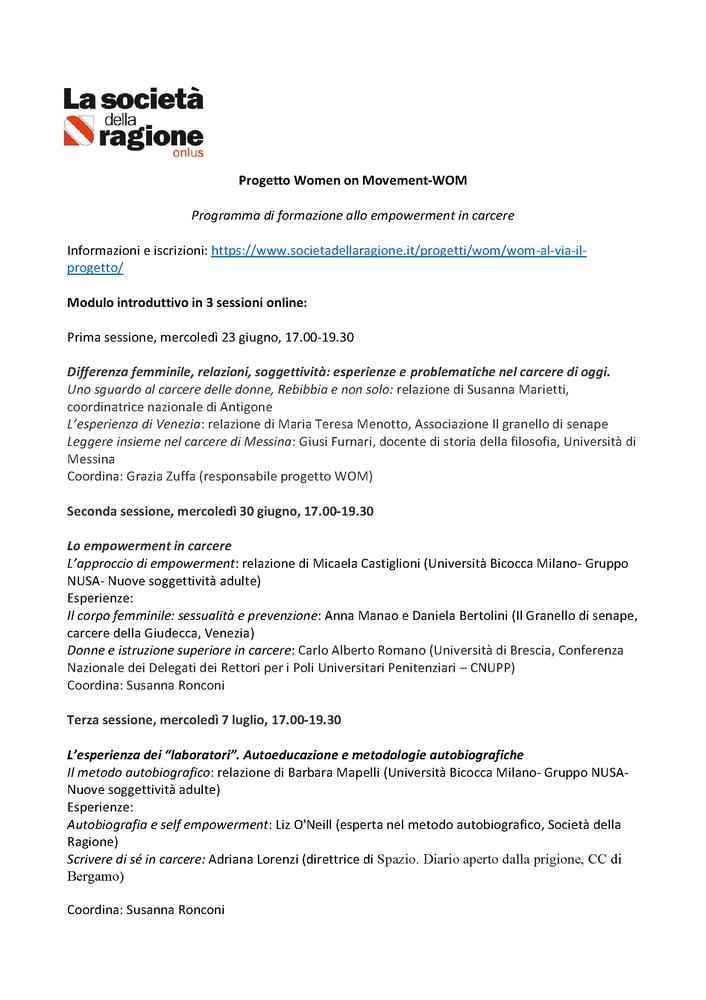 """Corso di formazione """"WoM - Woman on movement"""" - 30 giugno - Locandina"""