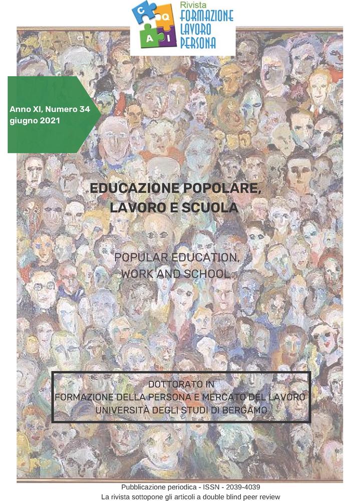 """Pubblicazione rivista e nuova call della rivista """"Formazione, persona, lavoro"""" sul tema """"Educazione popolare, lavoro e scuola"""" - Copertina"""