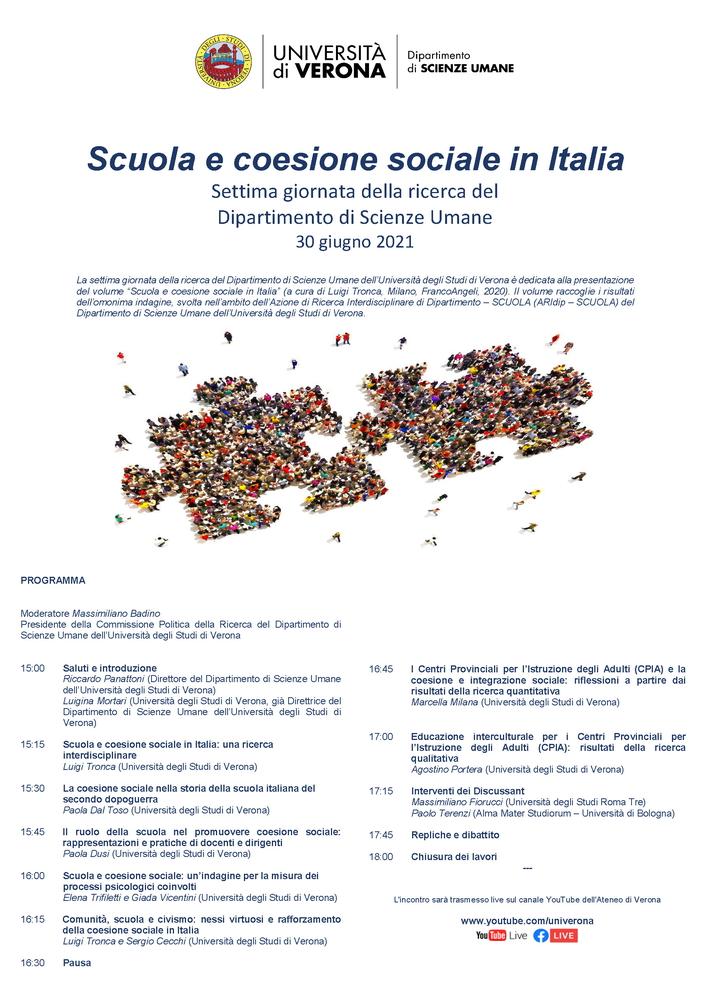 """Giornata di studio """"Scuola e coesione sociale"""" - 30 giugno - Locandina"""