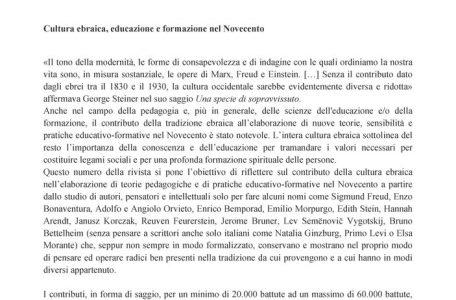 """Call for papers rivista """"Nuova Secondaria Ricerca"""" sul tema """"Cultura ebraica, educazione e formazione nel Novecento"""" - Call"""