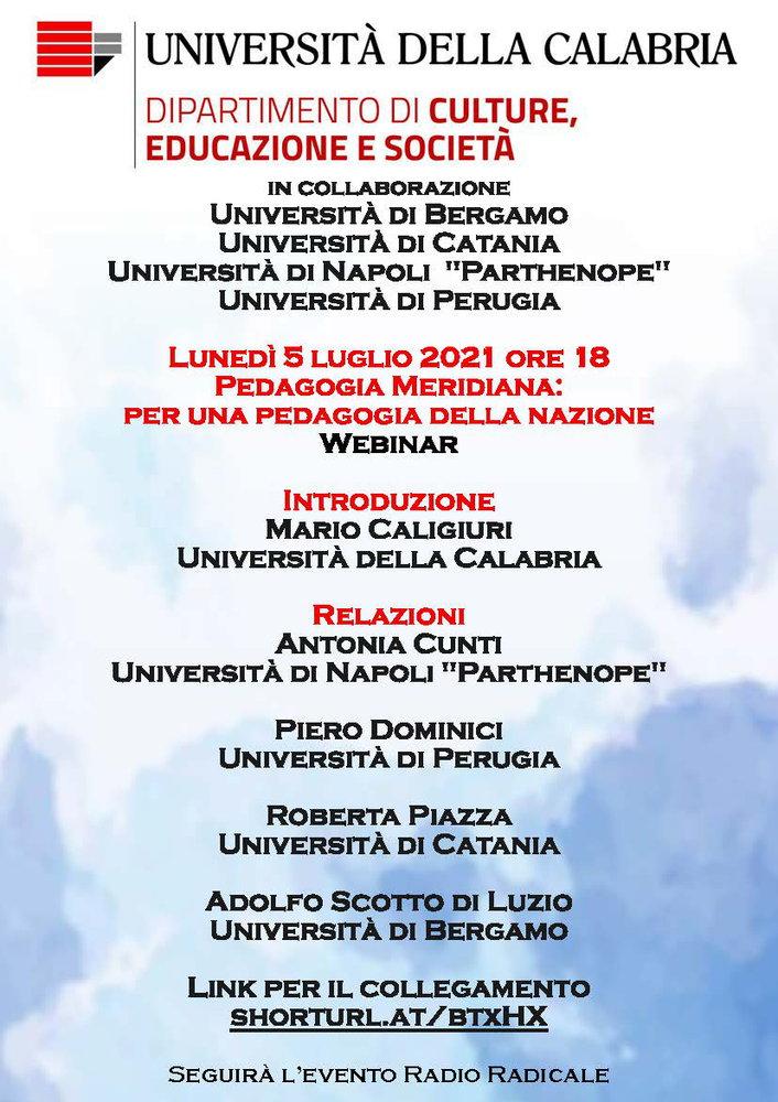 """Webinar """"Pedagogia meridiana. Per una pedagogia della Nazione"""" - 5 luglio - Locandina"""