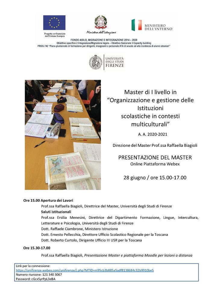 """Master universitario di I livello """"Organizzazione e gestione delle istituzioni scolastiche in contesti multiculturali"""" - Locandina"""