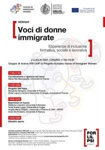 """Webinar """"Voci di donne immigrate. Esperienze di inclusione formativa, sociale e lavorativa"""" - 2 luglio - Locandina"""