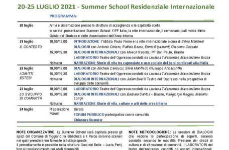 """Summer School e Call Metis """"Lavoro e sviluppo. Umanità, socialità, territorialità"""" - 20-25 luglio - Locandina"""