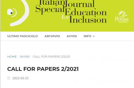 """Call for papers rivista """"Italian Journal of Special Education"""" sul tema """"I vettori dei processi inclusivi. Territori, reti e connessioni"""" - Call"""