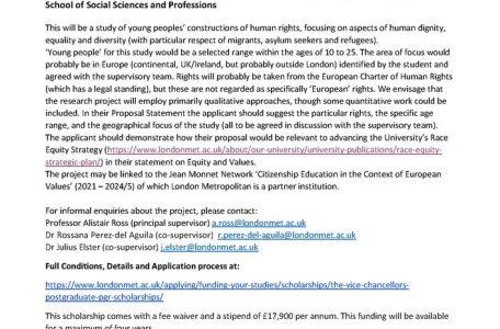 """Call scholarship """"Comprensione dei diritti umani e dell'uguaglianza sociale da parte dei giovani in Europa"""""""