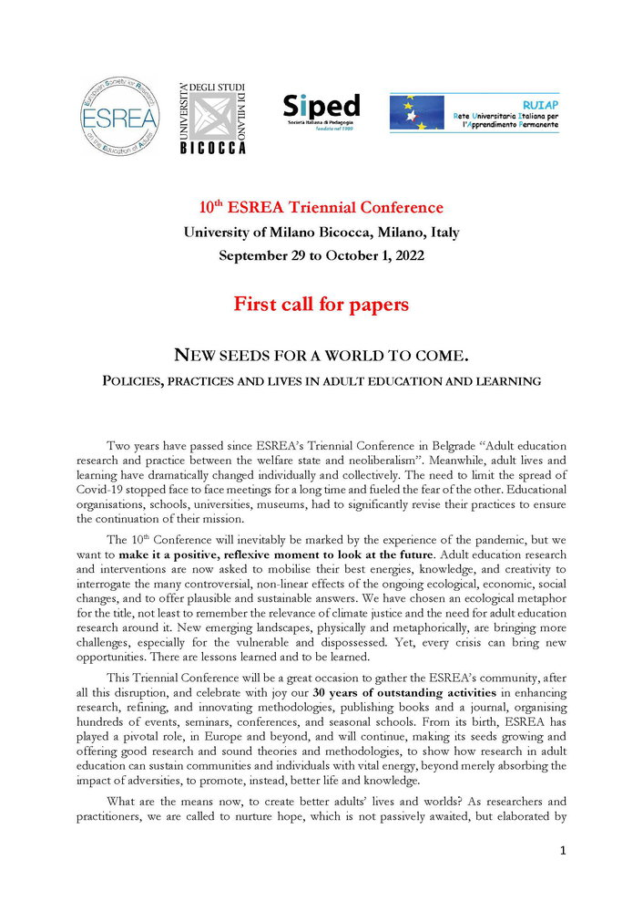 "10th ESREA Triennial Conference ""New Seeds for a World to Come"" - 29 settembre - 1 ottobre, Milano - Call"