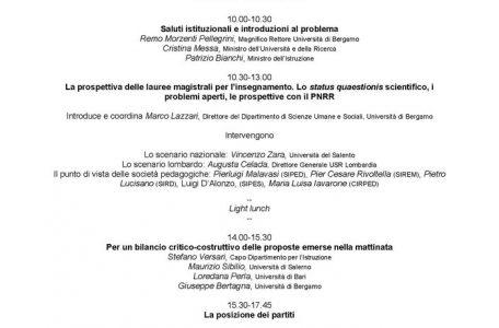 """Convegno """"Lauree abilitanti per (quasi) tutti. Perché escludere solo i 'professionisti' dell'insegnamento scolastico?"""" - 1 ottobre, Bergamo - Programma"""