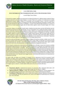 """Call for papers rivista """"Italian Journal of Health Education, Sport and Inclusive Didactic"""" sul tema """"Multi-sensorialità fra neuroscienze educative e pratiche didattiche"""""""