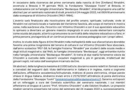 """Call for abstract seminario di studi """"Nel solco di Emi Rinaldini (1922-1945). Dalla scuola di Vittorino Chizzolini ad exemplum per le nascenti vocazioni magistrali"""""""