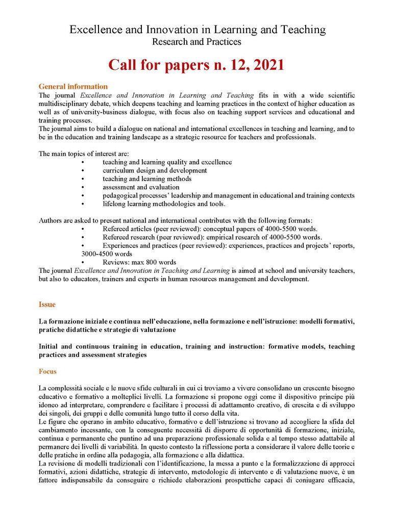 """Call for papers rivista """"Excellence and Innovation in Learning and Teaching. Research and Practices"""" sul tema """"La formazione iniziale e continua nell'educazione, nella formazione e nell'istruzione: modelli formativi, pratiche didattiche e strategie di valutazione"""" - Call"""